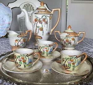 Vintage -Porcelain -Demitasse Espresso Set -Japan -Floral