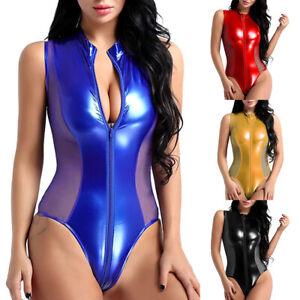 Women Sexy PU Leather Lingerie Crotchless Bodysuit Wet Look  Nightwear Underwear