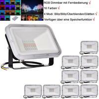 10Pcs 30W LED Fluter RGB Dimmbar mit Fernbedienung Strahler Scheinwerfer Licht