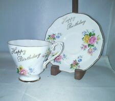 Royal Grafton Bone China Happy Birthday Flowers Cup Saucer Set Footed England