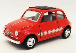 Fiat 500 - Red - Kinsmart Pull Back & Go Metal Model Car