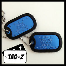 2 Military Dog Tags - Custom Embossed ROYAL BLUE -GI Identification w/ Silencers