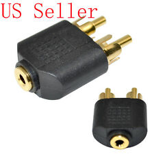 "Gold Adapter 3.5mm 1/8"" female jack to 2x RCA male plug stereo for Headphone"