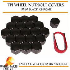 TPI Black Chrome Wheel Bolt Nut Covers 19mm for VW Transporter T6 15-16