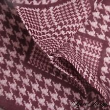 NWT Gladson Made in Italy 100% Linen Burgundy Maxi Houndstooth Pocket Square NR
