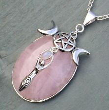 Rose Quartz Rainbow Moonstone Triple Moon Goddess Pentagram Pendant Wicca Chakra