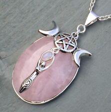 Quarzo Rosa Arcobaleno Moonstone Triple MOON GODDESS Ciondolo a forma di Pentagramma Wicca chakra