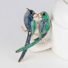 Fashion Dual Birds Parrots Brooch Animal Alloy Corsages Christmas Jewelry Gifts