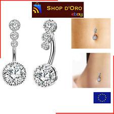 Piercing Ombelico Diamanti Donna Acciaio Chirurgico Anallergico Alta Qualita