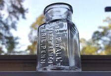 Antique 1800s HALLS CATARRH REMEDY Quack Patent Medicine Cure Bottle Erie Penn