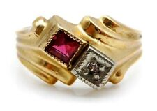 VICTORIAN Solid 14k Yellow Gold / Ruby / Diamonds Child's Ring Size 3