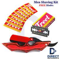 Luxury Straight Barber Hair Shaving Razor Folding Knife Men Grooming Set Gift