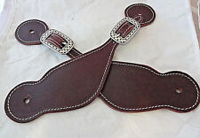 Pair Buckaroo Burgundy Latigo Leather Spur Straps Stitched Jeremiah Watt Buckles