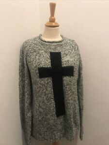 Grey Chunky Knit Crucifix Jumper Size 14 Winter Pullover Punk