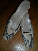 RUSSELL AND BROMLEY, MOCK SNAKE SKIN MULES, EU 39/UK 6, MADE IN ITALY