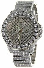 Iced Out Bling Hip Hop Techno King White Gold Tone BIG CZ CRYSTALS  LUXURY WATCH