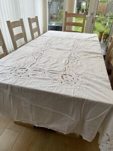 Tablecloth Large Vintage White Embroidered Crochet Cotton Pretty Wedding Flower