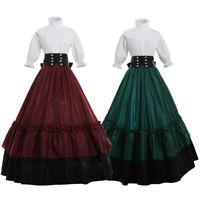 Victorian Women Dress Ball Gown Reenactment Theater Corset Costume With Bustle