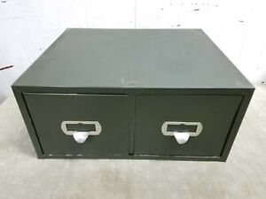 Vintage 2 Drawer Green Industrial File Cabinet Metal Tool Chest Box, 19x16, 6x8