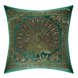 Brocade Silk Cushion Cover Indian Peacock Bedding Sofa Pillow Case Throw 12""