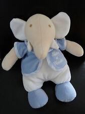 N5- DOUDOU PELUCHE TARTINE ET CHOCOLAT ELEPHANT BLEU ET BLANC GILET 25cms NEUF *