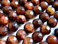 Red Tiger's Eye 4mm Faceted Round 16 Inches Stone Bead @(