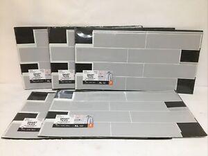 Lot Of (5) Smart Tiles Peel & Stick Wall Tile Backsplash Grey 2 Pk (10 Total)
