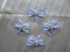 4 WHITE ORGANZA & SATIN RIBBON BUTTERFLY BOWS APPLIQUES