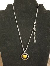 """Live Laugh Love Family"" Two Tone Heart Necklace Inspirational  Words   Z1"