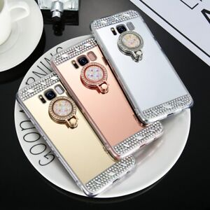 Bling Diamonds Crystals Ring Holder stand Mirror Cases Covers For Motorola Phone