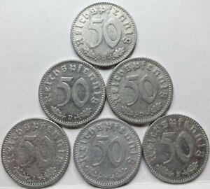 GERMANY 3rd Reich lot 6x 50 Reichspfennig 1940 1941 All diff. Swastika #A91