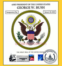 2001 Inauguration of George W Bush Great Seal of the US Souvenir Card Dual DC TX