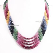 5 Line Natural Ruby Emerald Sapphire Multi Precious Faceted Beads Necklace