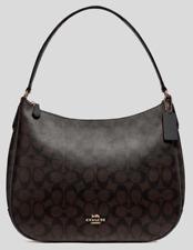 New Coach 29209 ZIp Shoulder bag Signature Coated Canvas handbag Brown / Black