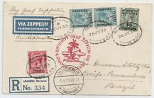 1933 BRITISH MOROCCO AGENCIES TO BRAZIL ZEPPELIN COVER VIA FRANCE, WOW