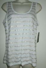 PURE COLLECTION Luxury TANK TOP 8/10 NEW Linen URBAN CHIC Shirt WHITE GOLD NWT