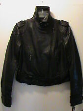 DKNY ladies-S black soft genuine leather riding jacket motorcycle biker NWT