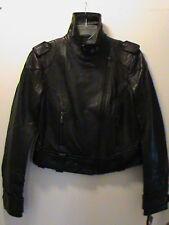DKNY ladies-S black soft genuine leather riding jacket motorcycle biker NWT