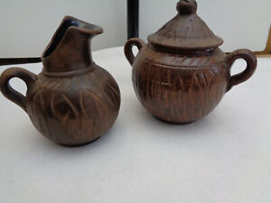VTG BROWN TERRA COTTA EARTHENWARE CREAMER AND SUGAR AFRICA?