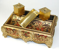 "Antique Napoleon III Boulle Inlay 10"" Double Inkwell, Colorful Inlay, w Sander"