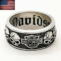 Harley-Davidson Mens Skull Ring B&S Logo Engraved Inside Band Size 6-15. RARE