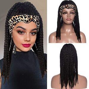 Box Braided Wig Headband Wig HeadWrap Wigs 2 in 1 Braided Wigs for Black Women
