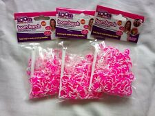 900 Loom Bands Rubber Refill Neon Pink & White w/ hooks & s-clasps Bundle