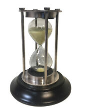 "Brass Hourglass Sand Timer 5"" Silver Finish Nautical 30 Minute Marine Sandglass"