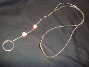 "Silver Tone Handmade Bugle Bead 30"" Lanyard/Badge Holder w/Apple/Teacher Design"