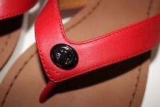 NIB COACH Size 8 Women's True Red 100% Semi Matte Calf Leather SHELLY Sandal