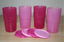 Tupperware 12 Ounce TableTop Stacking Tumblers Peach Orange Seals Set of 4 New