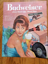 1960  Budweiser Beer Ad  Lady Plying Phonograph Vinyl Records