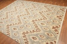 8' x 10' Modern Hand Knotted Ikat Wool Full Pile Oriental Area Rug 8x10 Ivory
