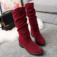 Women Winter Snow Boots Fashion Work Flat Bottom Shoes Mid Calf Suede Long Boot